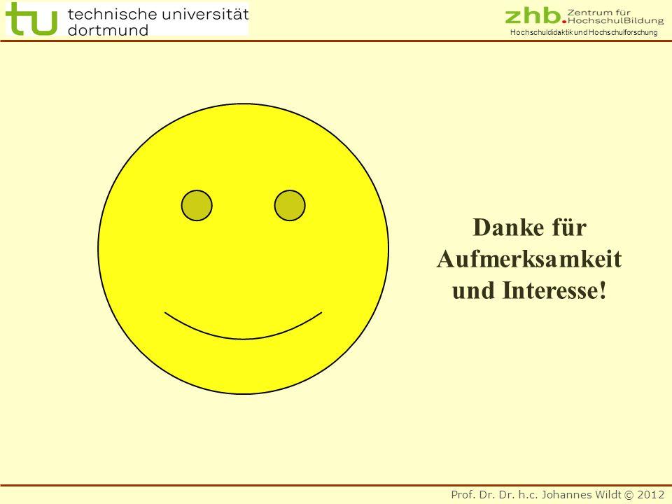 Prof. Dr. Dr. h.c. Johannes Wildt © 2012 Hochschuldidaktik und Hochschulforschung Danke für Aufmerksamkeit und Interesse!