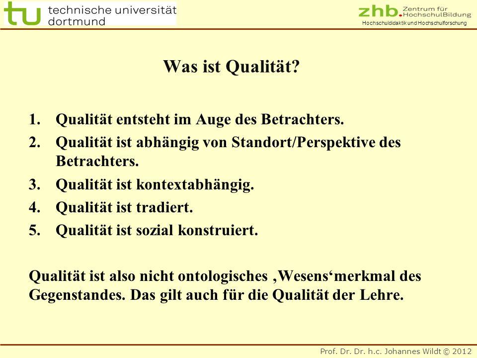 Prof. Dr. Dr. h.c. Johannes Wildt © 2012 Hochschuldidaktik und Hochschulforschung Was ist Qualität? 1.Qualität entsteht im Auge des Betrachters. 2.Qua