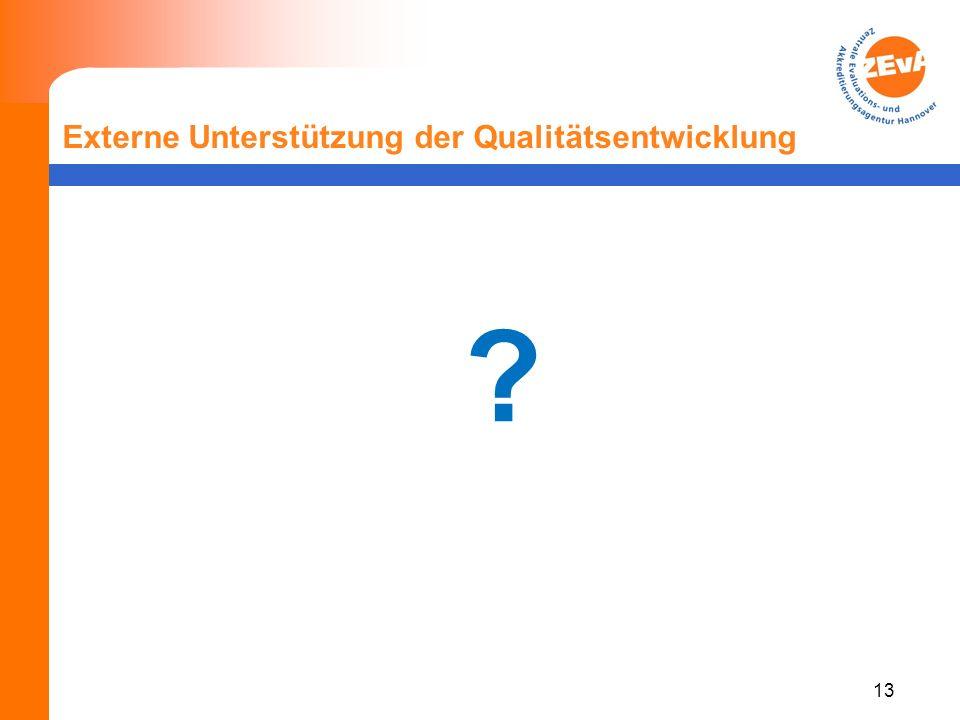 13 Externe Unterstützung der Qualitätsentwicklung ?