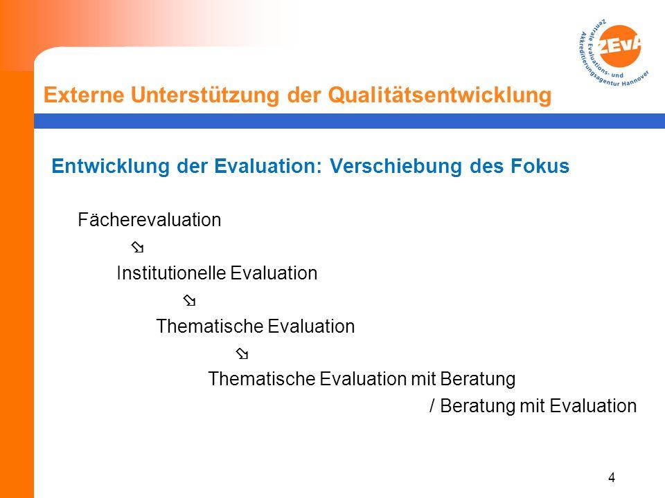 5 Externe Unterstützung der Qualitätsentwicklung Referenzprojekte: Fächerevaluation 1995-2006 Flächendeckende Evaluation nahezu aller Studienfächer in Niedersachsen, z.T.