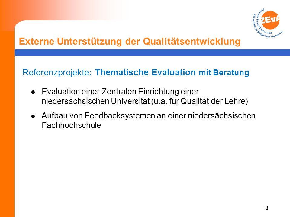 8 Externe Unterstützung der Qualitätsentwicklung Referenzprojekte: Thematische Evaluation mit Beratung Evaluation einer Zentralen Einrichtung einer niedersächsischen Universität (u.a.