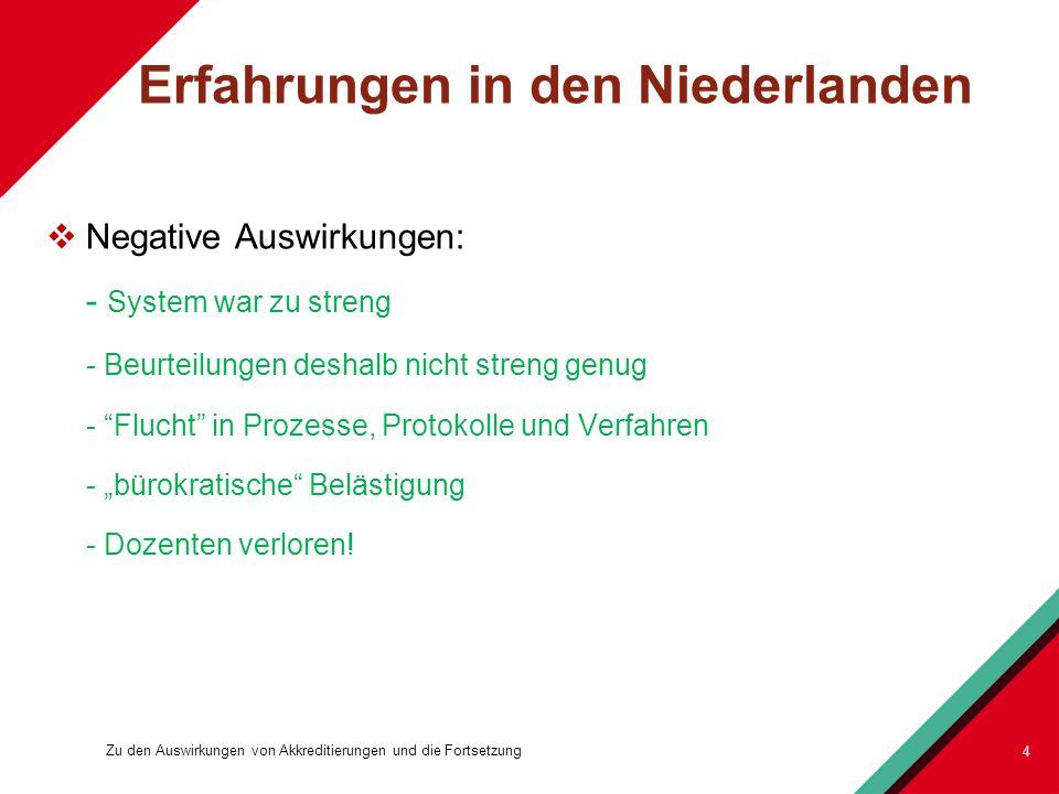 Erfahrungen in den Niederlanden Negative Auswirkungen: - System war zu streng - Beurteilungen deshalb nicht streng genug - Flucht in Prozesse, Protoko