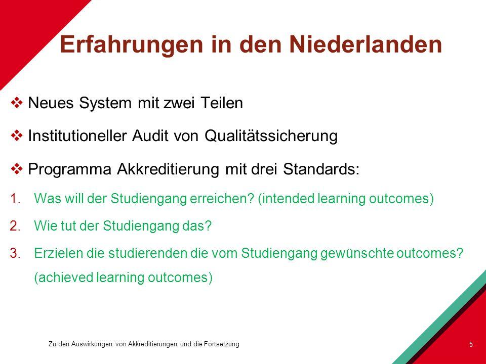 Erfahrungen in den Niederlanden Neues System mit zwei Teilen Institutioneller Audit von Qualitätssicherung Programma Akkreditierung mit drei Standards: 1.Was will der Studiengang erreichen.