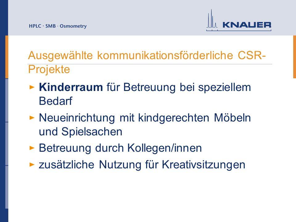 Ausgewählte kommunikationsförderliche CSR- Projekte Kinderraum für Betreuung bei speziellem Bedarf Neueinrichtung mit kindgerechten Möbeln und Spielsa