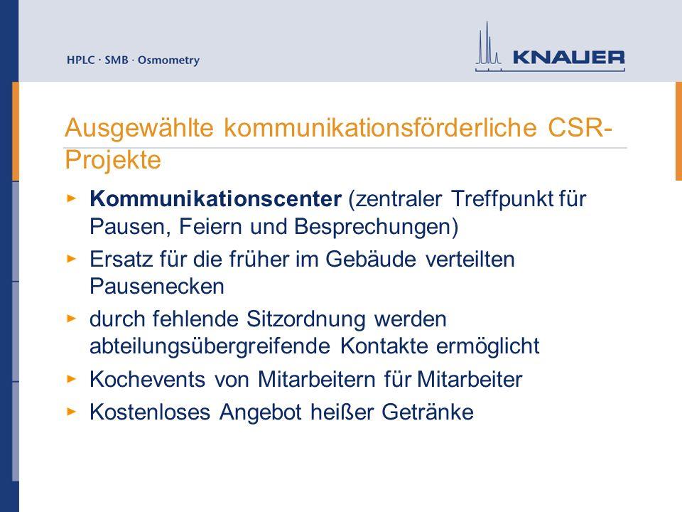 Ausgewählte kommunikationsförderliche CSR- Projekte Kommunikationscenter (zentraler Treffpunkt für Pausen, Feiern und Besprechungen) Ersatz für die fr