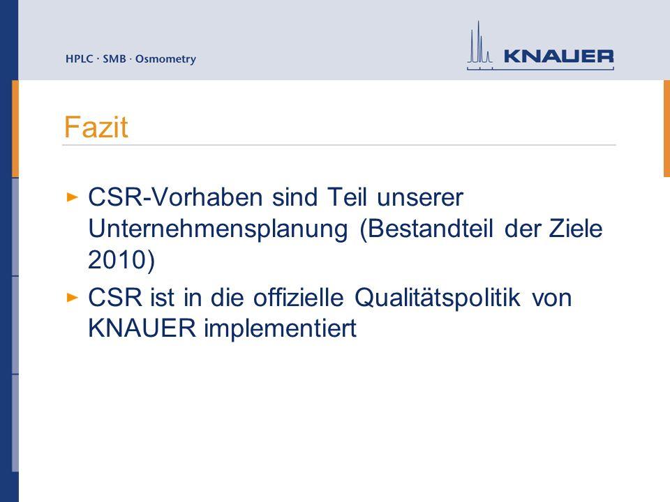 Fazit CSR-Vorhaben sind Teil unserer Unternehmensplanung (Bestandteil der Ziele 2010) CSR ist in die offizielle Qualitätspolitik von KNAUER implementiert