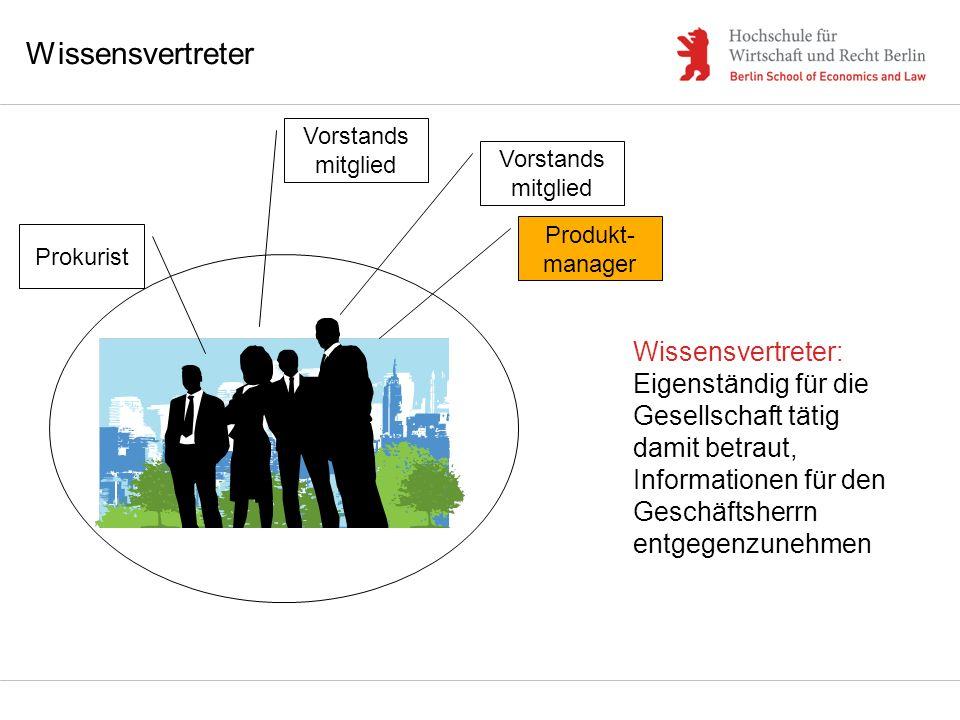 Wissensvertreter Vorstands mitglied Prokurist Produkt- manager Wissensvertreter: Eigenständig für die Gesellschaft tätig damit betraut, Informationen
