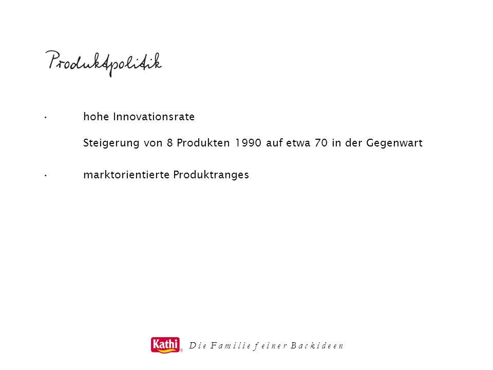 D i e F a m i l i e f e i n e r B a c k i d e e n hohe Innovationsrate Steigerung von 8 Produkten 1990 auf etwa 70 in der Gegenwart marktorientierte P