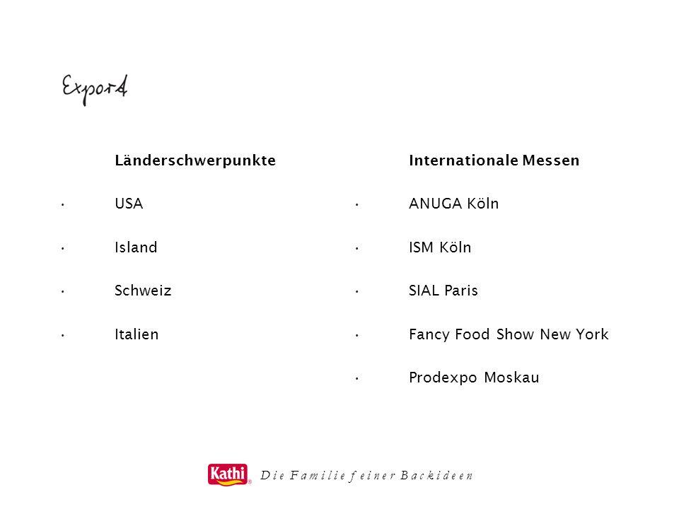 D i e F a m i l i e f e i n e r B a c k i d e e n Länderschwerpunkte USA Island Schweiz Italien Internationale Messen ANUGA Köln ISM Köln SIAL Paris F