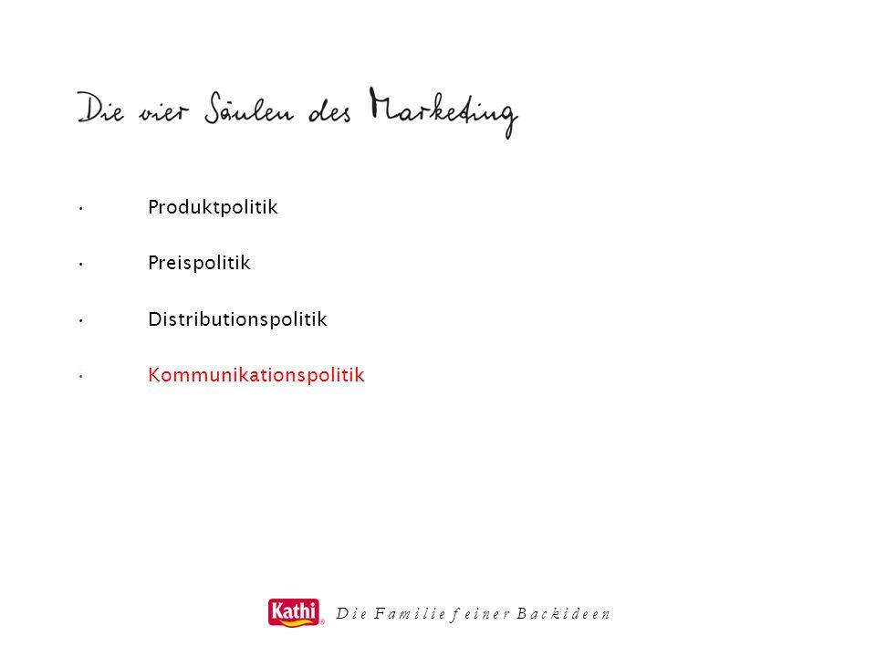 D i e F a m i l i e f e i n e r B a c k i d e e n Produktpolitik Preispolitik Distributionspolitik Kommunikationspolitik