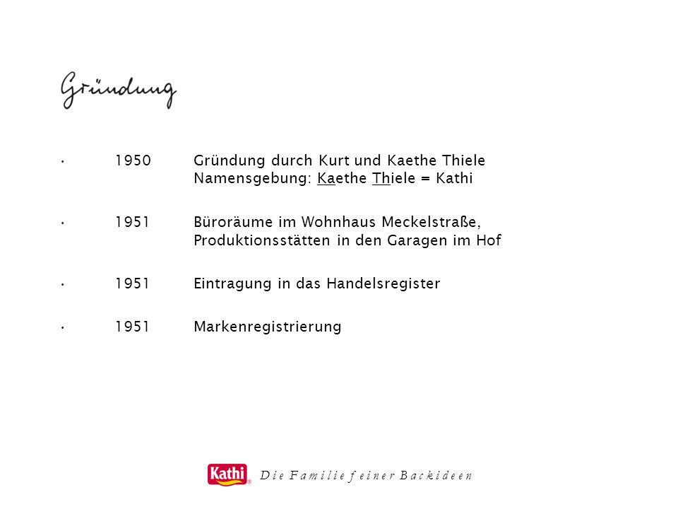 1950Gründung durch Kurt und Kaethe Thiele Namensgebung: Kaethe Thiele = Kathi 1951Büroräume im Wohnhaus Meckelstraße, Produktionsstätten in den Garage