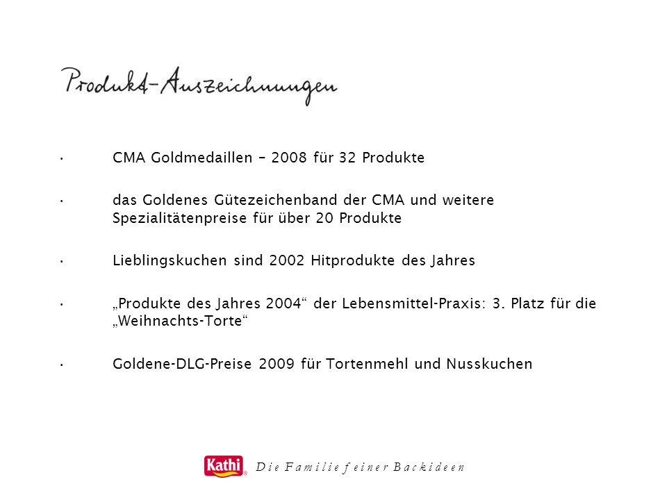 CMA Goldmedaillen – 2008 für 32 Produkte das Goldenes Gütezeichenband der CMA und weitere Spezialitätenpreise für über 20 Produkte Lieblingskuchen sin