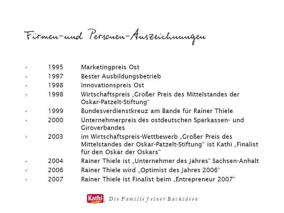D i e F a m i l i e f e i n e r B a c k i d e e n 1995Marketingpreis Ost 1997Bester Ausbildungsbetrieb 1998Innovationspreis Ost 1998Wirtschaftspreis G
