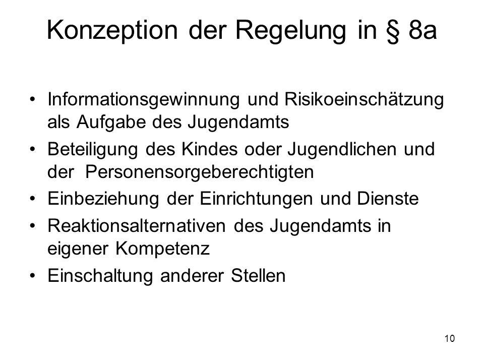 10 Konzeption der Regelung in § 8a Informationsgewinnung und Risikoeinschätzung als Aufgabe des Jugendamts Beteiligung des Kindes oder Jugendlichen un