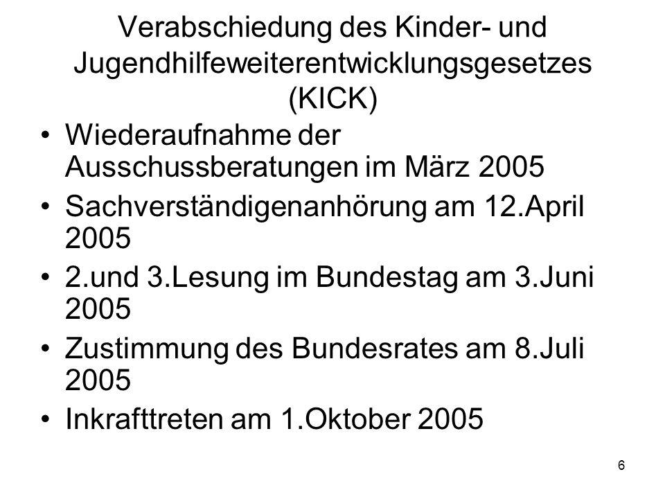 6 Verabschiedung des Kinder- und Jugendhilfeweiterentwicklungsgesetzes (KICK) Wiederaufnahme der Ausschussberatungen im März 2005 Sachverständigenanhö