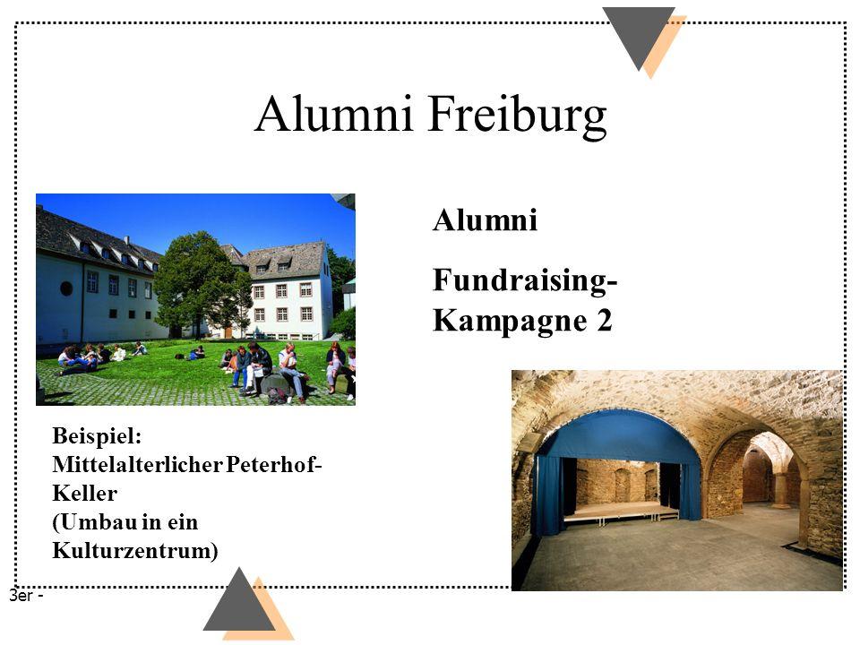 Beispiel: Mittelalterlicher Peterhof- Keller (Umbau in ein Kulturzentrum) Alumni Fundraising- Kampagne 2 3er - Alumni Freiburg
