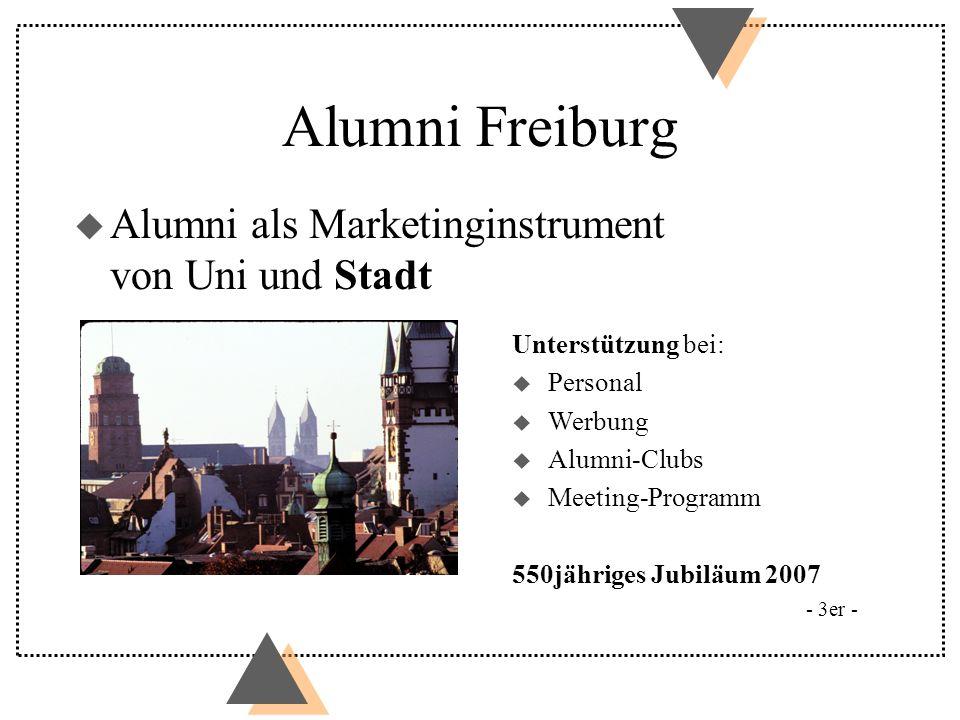 u Alumni als Marketinginstrument von Uni und Stadt - 3er - Unterstützung bei: u Personal u Werbung u Alumni-Clubs u Meeting-Programm 550jähriges Jubil