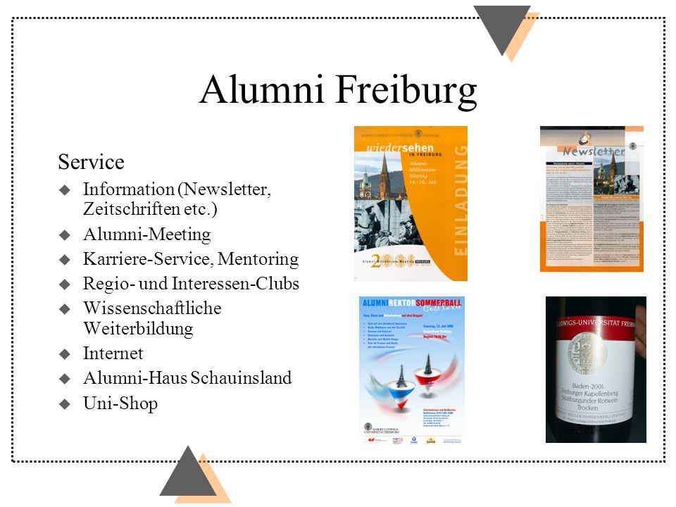Alumni Freiburg Service u Information (Newsletter, Zeitschriften etc.) u Alumni-Meeting u Karriere-Service, Mentoring u Regio- und Interessen-Clubs u