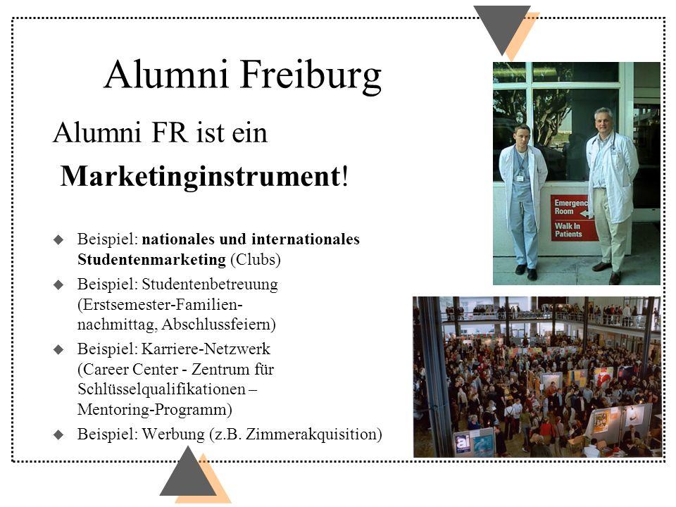 Alumni Freiburg Alumni FR ist ein Marketinginstrument! u Beispiel: nationales und internationales Studentenmarketing (Clubs) u Beispiel: Studentenbetr