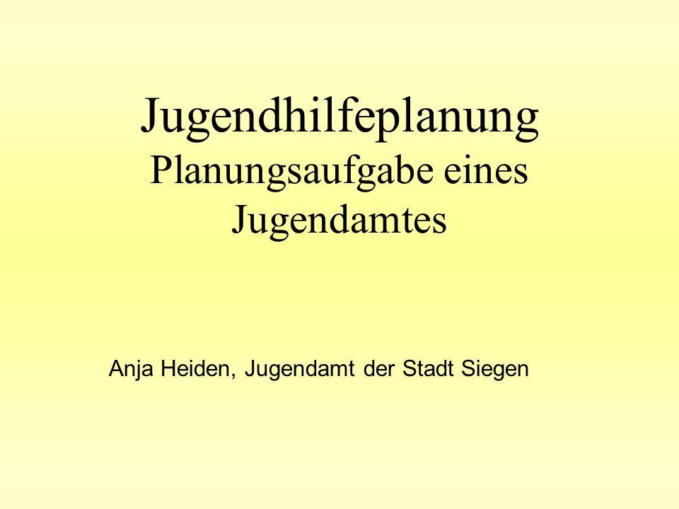 Jugendhilfeplanung Planungsaufgabe eines Jugendamtes Anja Heiden, Jugendamt der Stadt Siegen