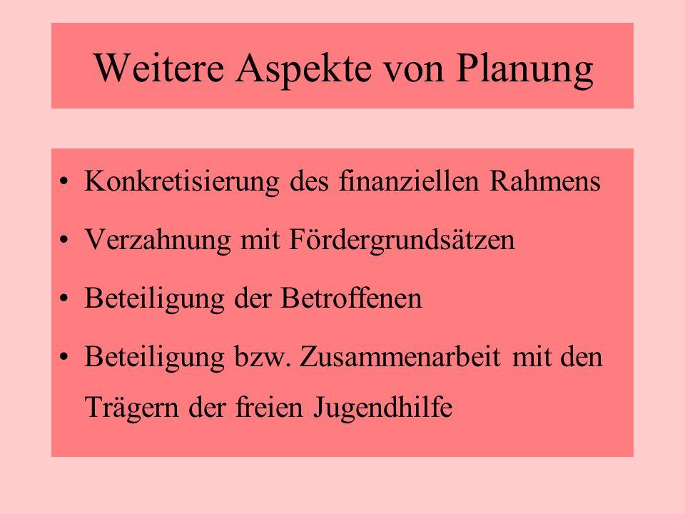 Weitere Aspekte von Planung Konkretisierung des finanziellen Rahmens Verzahnung mit Fördergrundsätzen Beteiligung der Betroffenen Beteiligung bzw. Zus