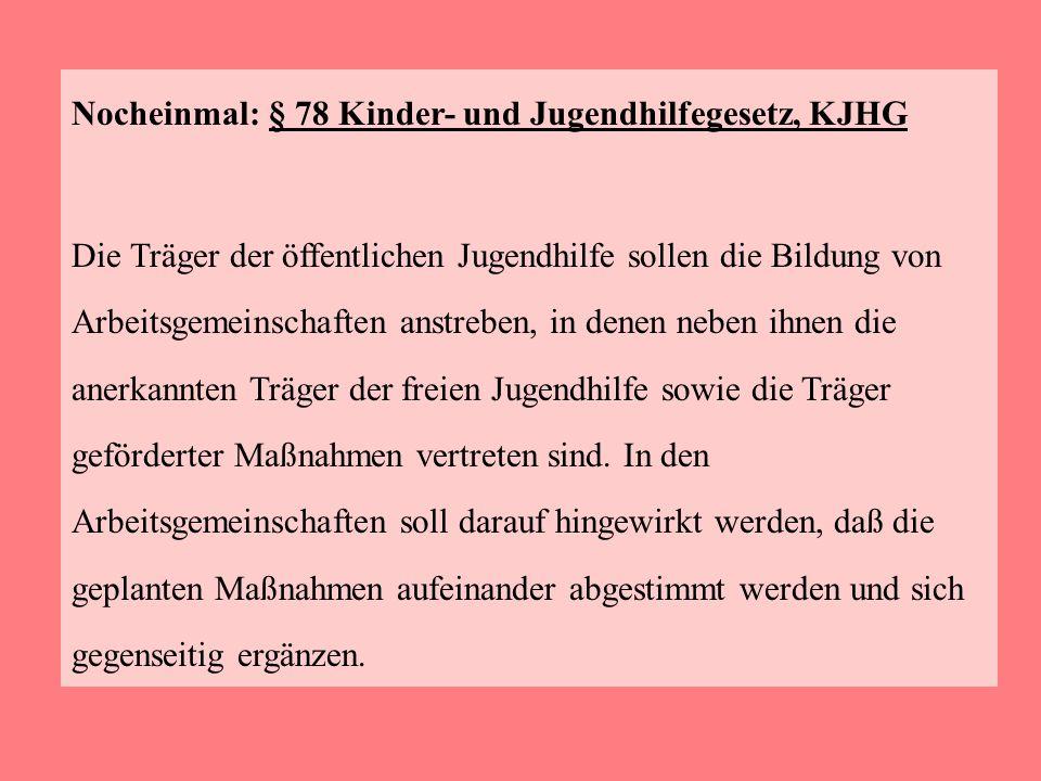 Nocheinmal: § 78 Kinder- und Jugendhilfegesetz, KJHG Die Träger der öffentlichen Jugendhilfe sollen die Bildung von Arbeitsgemeinschaften anstreben, i