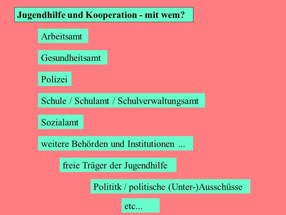 Jugendhilfe und Kooperation - mit wem? Sozialamt Schule / Schulamt / Schulverwaltungsamt Arbeitsamt Gesundheitsamt Polizei weitere Behörden und Instit
