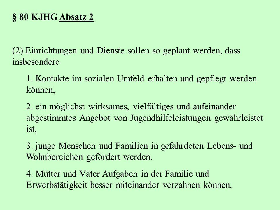 § 80 KJHG Absatz 2 (2) Einrichtungen und Dienste sollen so geplant werden, dass insbesondere 1. Kontakte im sozialen Umfeld erhalten und gepflegt werd