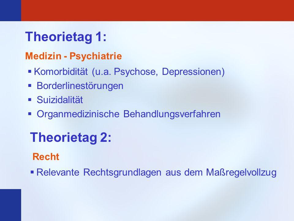 Theorietag 1: Komorbidität (u.a. Psychose, Depressionen) Borderlinestörungen Suizidalität Organmedizinische Behandlungsverfahren Medizin - Psychiatrie