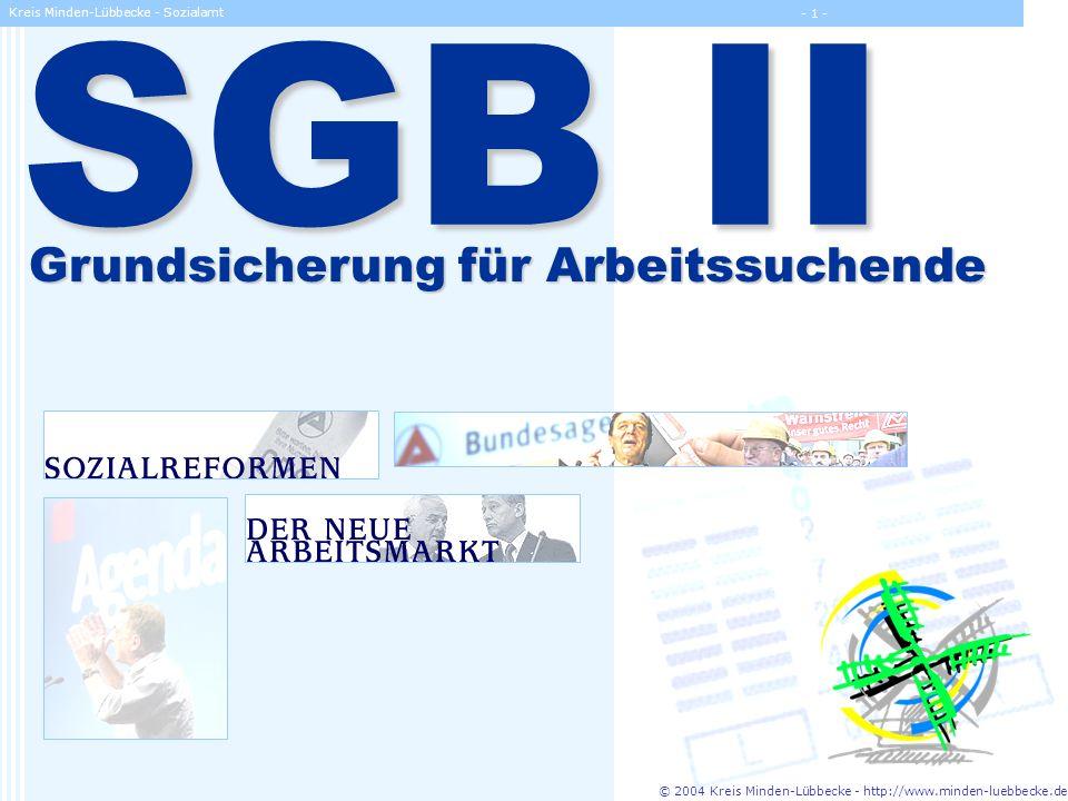 © 2004 Kreis Minden-Lübbecke - http://www.minden-luebbecke.de Kreis Minden-Lübbecke - Sozialamt - 22 - Umsetzung des Gesetzes Die kommunalfreundliche Arbeitsgemeinschaft ARGE gGmbH BA Aufgaben nach § 16 Abs.