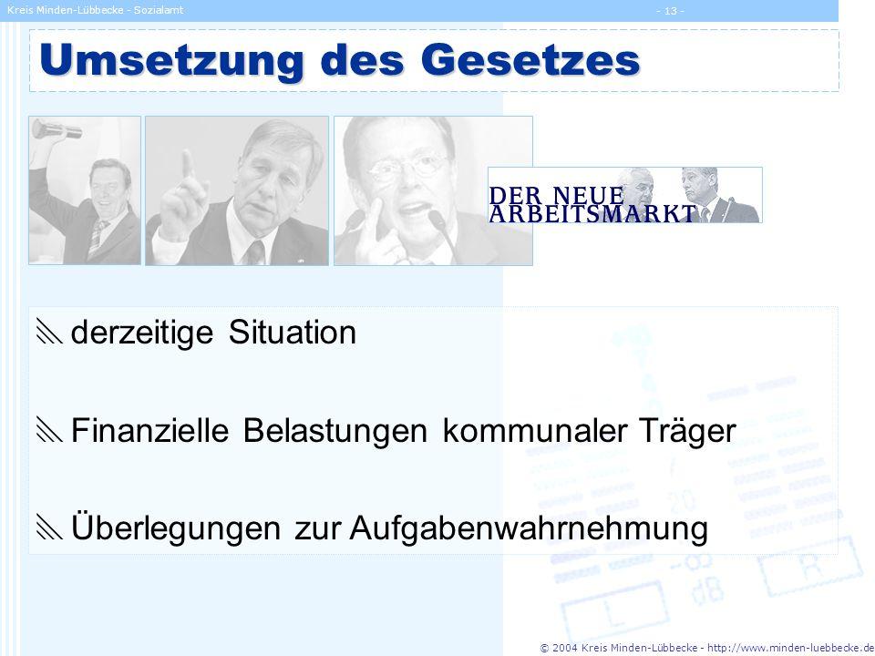 © 2004 Kreis Minden-Lübbecke - http://www.minden-luebbecke.de Kreis Minden-Lübbecke - Sozialamt - 13 - Umsetzung des Gesetzes derzeitige Situation Fin