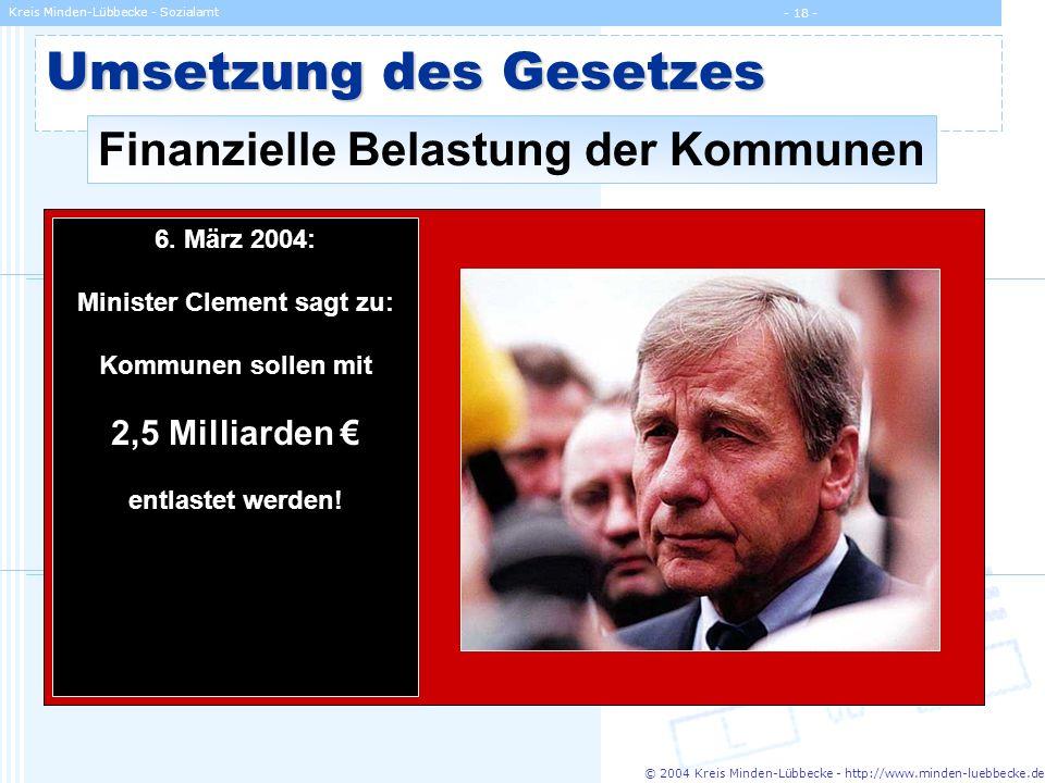 © 2004 Kreis Minden-Lübbecke - http://www.minden-luebbecke.de Kreis Minden-Lübbecke - Sozialamt - 18 - Umsetzung des Gesetzes Finanzielle Belastung de