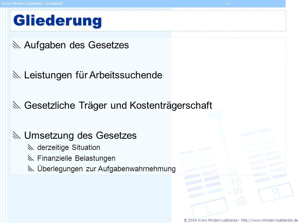 © 2004 Kreis Minden-Lübbecke - http://www.minden-luebbecke.de Kreis Minden-Lübbecke - Sozialamt - 13 - Umsetzung des Gesetzes derzeitige Situation Finanzielle Belastungen kommunaler Träger Überlegungen zur Aufgabenwahrnehmung