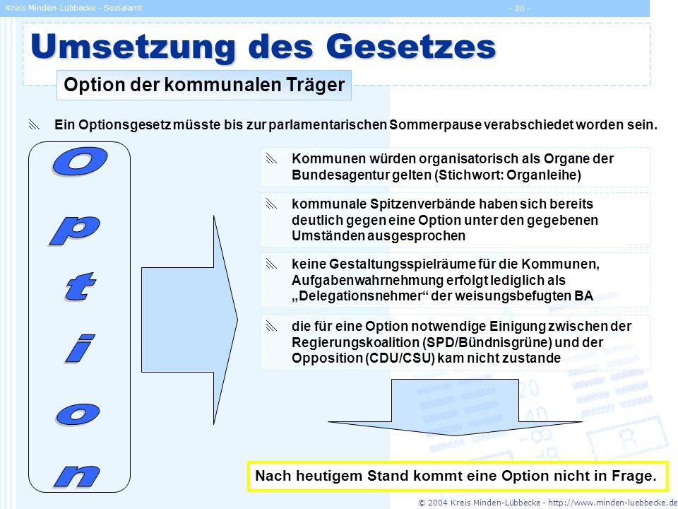 © 2004 Kreis Minden-Lübbecke - http://www.minden-luebbecke.de Kreis Minden-Lübbecke - Sozialamt - 20 - Umsetzung des Gesetzes Option der kommunalen Tr