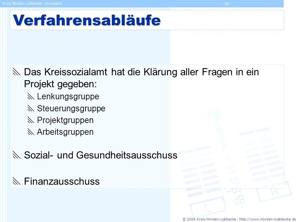 © 2004 Kreis Minden-Lübbecke - http://www.minden-luebbecke.de Kreis Minden-Lübbecke - Sozialamt - 26 -Verfahrensabläufe Das Kreissozialamt hat die Klä