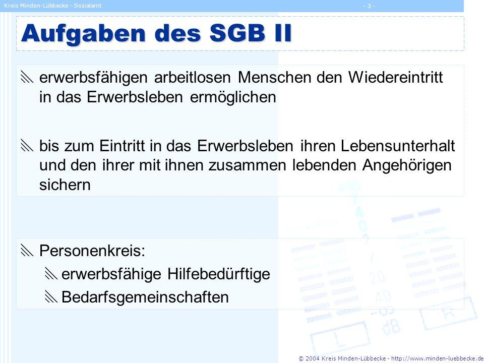 © 2004 Kreis Minden-Lübbecke - http://www.minden-luebbecke.de Kreis Minden-Lübbecke - Sozialamt - 3 - Aufgaben des SGB II erwerbsfähigen arbeitlosen M