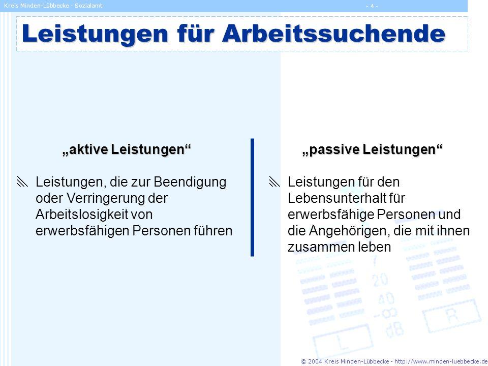 © 2004 Kreis Minden-Lübbecke - http://www.minden-luebbecke.de Kreis Minden-Lübbecke - Sozialamt - 5 - Leistungen für Arbeitssuchende aktive Leistungen alle Eingliederungsleistungen des SGB III zur Integration in Beschäftigung, z.B.