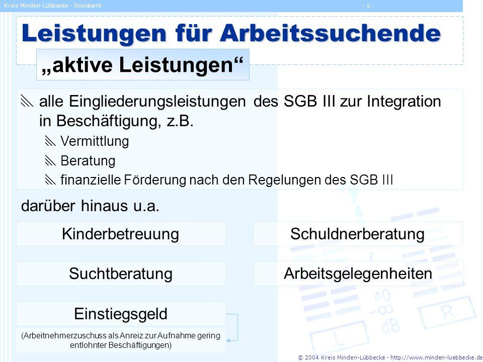 © 2004 Kreis Minden-Lübbecke - http://www.minden-luebbecke.de Kreis Minden-Lübbecke - Sozialamt - 5 - Leistungen für Arbeitssuchende aktive Leistungen
