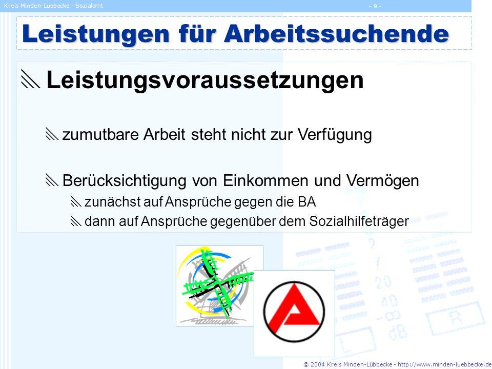 © 2004 Kreis Minden-Lübbecke - http://www.minden-luebbecke.de Kreis Minden-Lübbecke - Sozialamt - 9 - Leistungen für Arbeitssuchende Leistungsvorausse