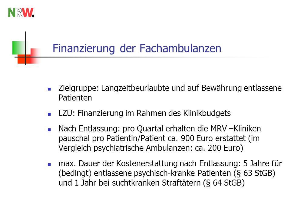 Finanzierung der Fachambulanzen Zielgruppe: Langzeitbeurlaubte und auf Bewährung entlassene Patienten LZU: Finanzierung im Rahmen des Klinikbudgets Na