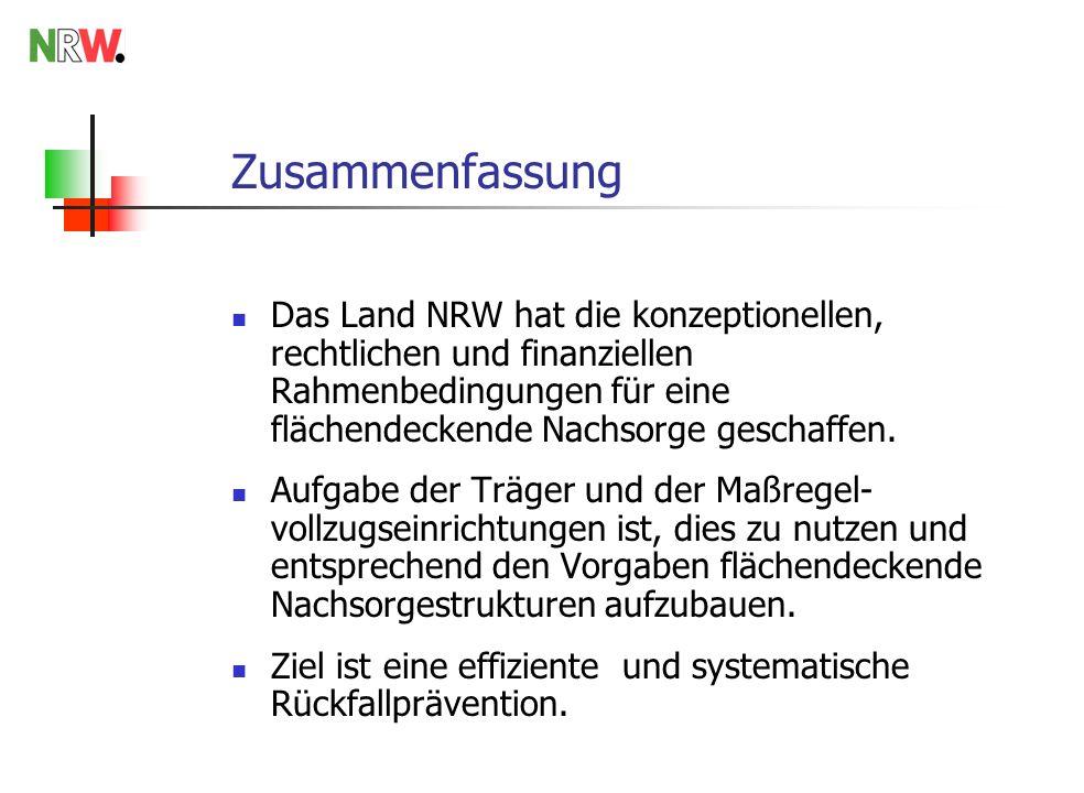 Zusammenfassung Das Land NRW hat die konzeptionellen, rechtlichen und finanziellen Rahmenbedingungen für eine flächendeckende Nachsorge geschaffen. Au