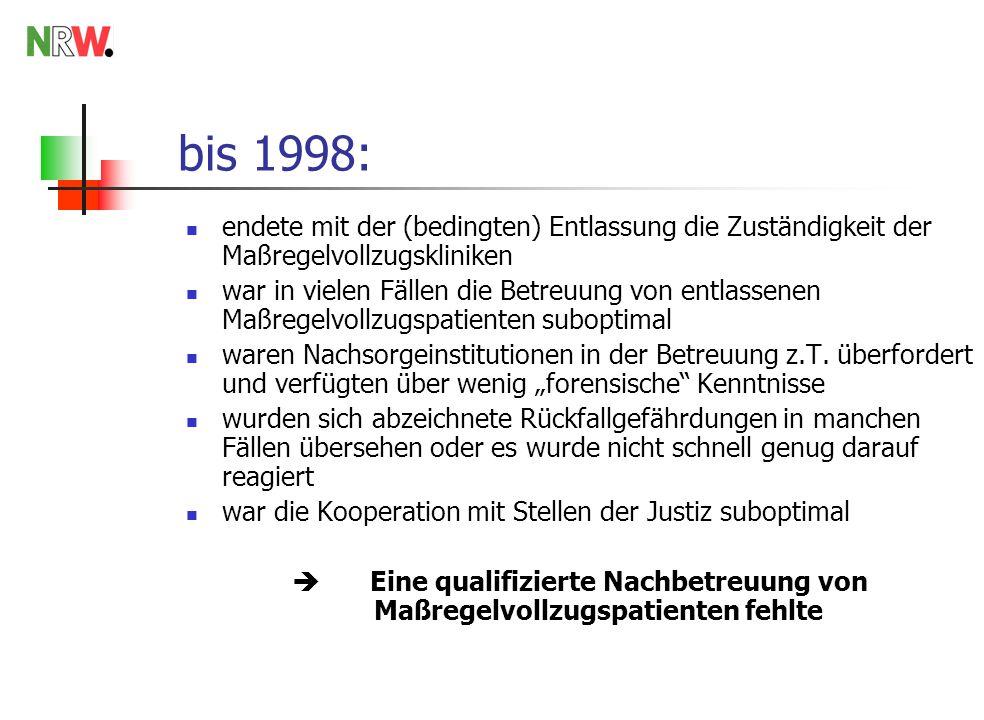 bis 1998: endete mit der (bedingten) Entlassung die Zuständigkeit der Maßregelvollzugskliniken war in vielen Fällen die Betreuung von entlassenen Maßregelvollzugspatienten suboptimal waren Nachsorgeinstitutionen in der Betreuung z.T.