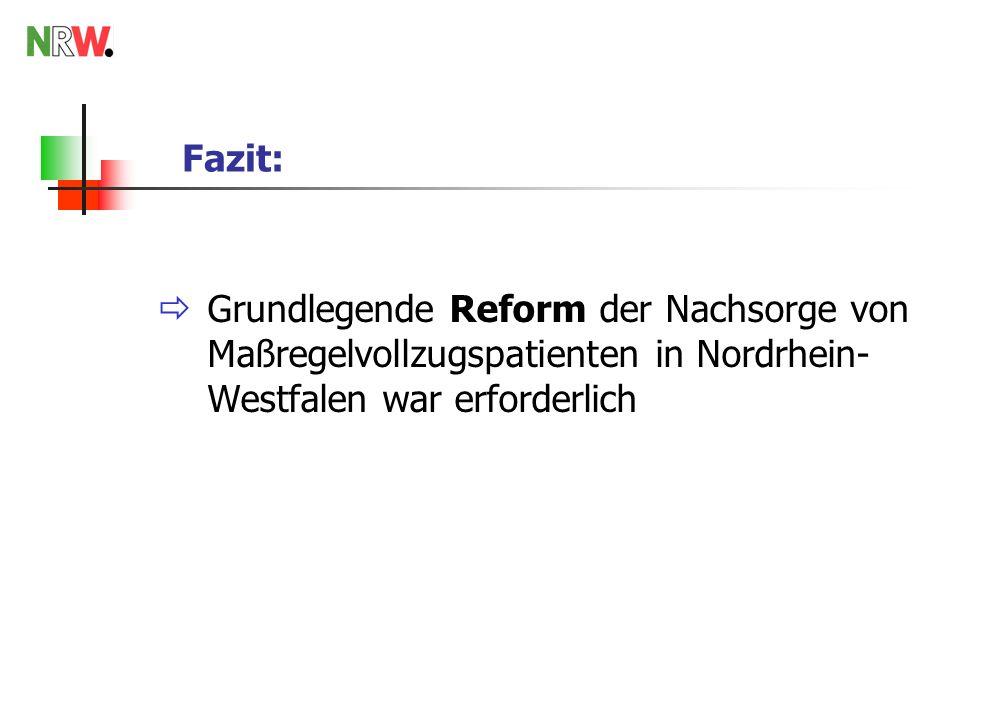 Zusammenfassung Das Land NRW hat die konzeptionellen, rechtlichen und finanziellen Rahmenbedingungen für eine flächendeckende Nachsorge geschaffen.