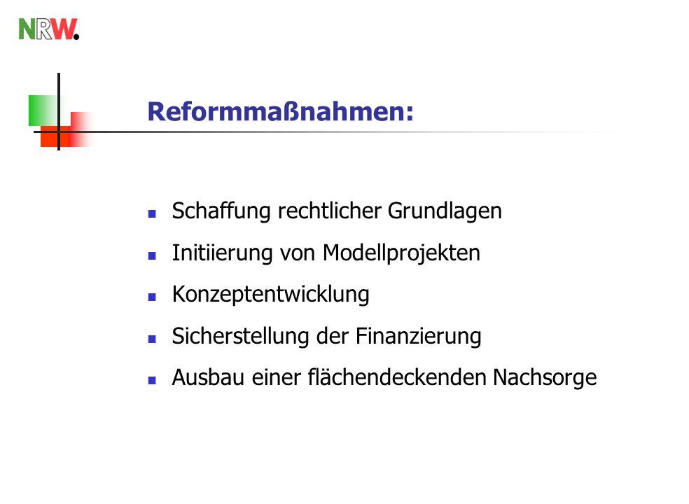 Reformmaßnahmen: Schaffung rechtlicher Grundlagen Initiierung von Modellprojekten Konzeptentwicklung Sicherstellung der Finanzierung Ausbau einer flächendeckenden Nachsorge