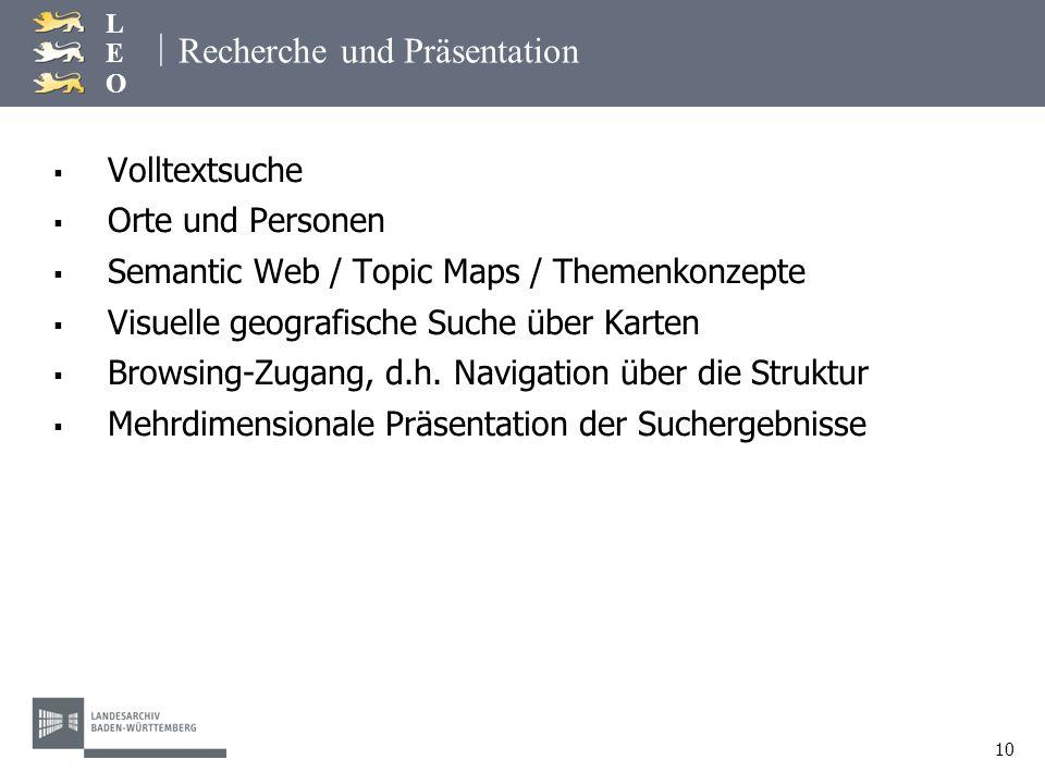 | LEOLEO 10 Recherche und Präsentation Volltextsuche Orte und Personen Semantic Web / Topic Maps / Themenkonzepte Visuelle geografische Suche über Kar