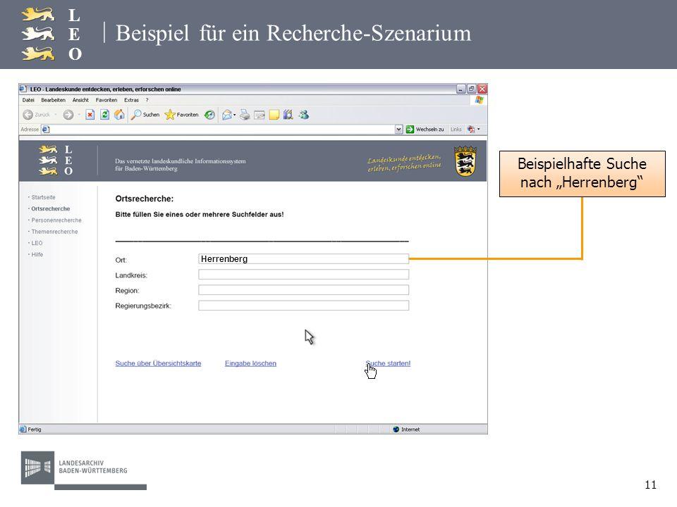 | LEOLEO 11 Beispiel für ein Recherche-Szenarium Beispielhafte Suche nach Herrenberg Herrenberg