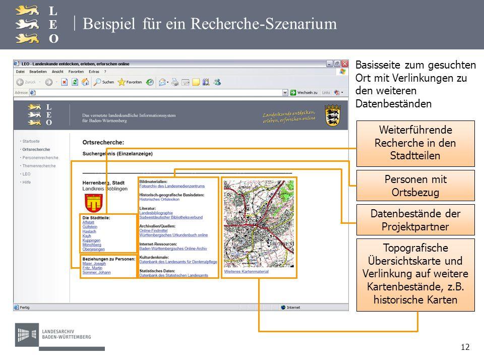 | LEOLEO 12 Beispiel für ein Recherche-Szenarium Weiterführende Recherche in den Stadtteilen Herrenberg Basisseite zum gesuchten Ort mit Verlinkungen