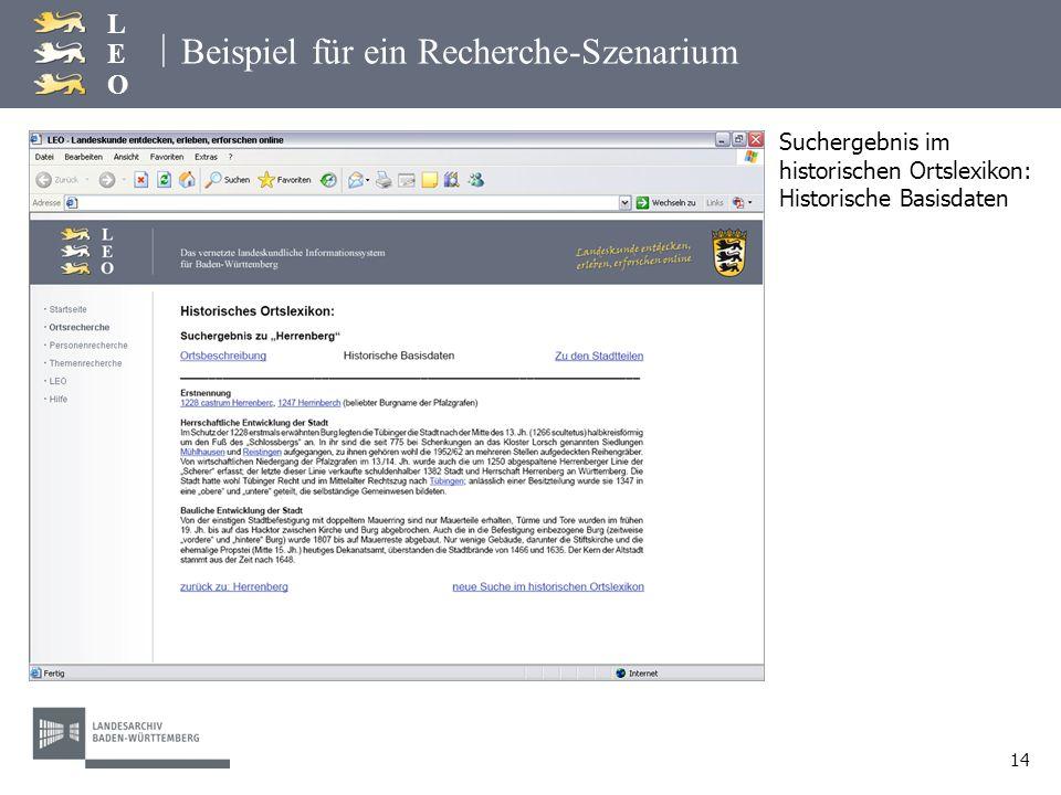 | LEOLEO 14 Beispiel für ein Recherche-Szenarium Suchergebnis im historischen Ortslexikon: Historische Basisdaten
