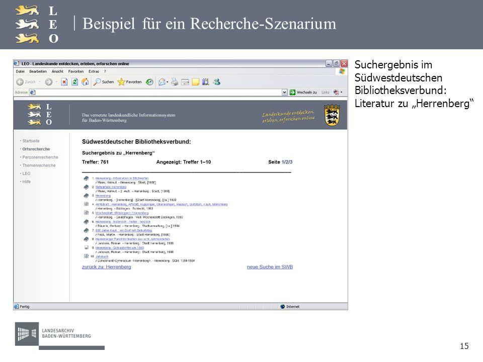 | LEOLEO 15 Beispiel für ein Recherche-Szenarium Suchergebnis im Südwestdeutschen Bibliotheksverbund: Literatur zu Herrenberg