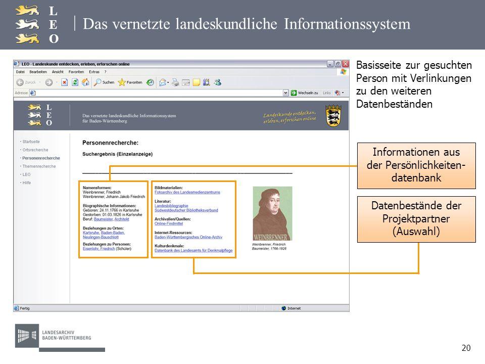 | LEOLEO 20 Das vernetzte landeskundliche Informationssystem Basisseite zur gesuchten Person mit Verlinkungen zu den weiteren Datenbeständen Informati